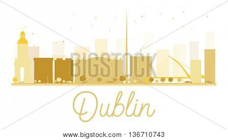 Dublin City skyline golden silhouette. Simple flat concept for tourism presentation, banner, placard or web site. Business travel concept. Dublin isolated on white background
