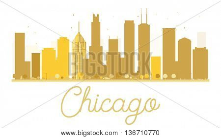 Chicago City skyline golden silhouette. Simple flat concept for tourism presentation, banner, placard or web site. Business travel concept. Chicago isolated on white background