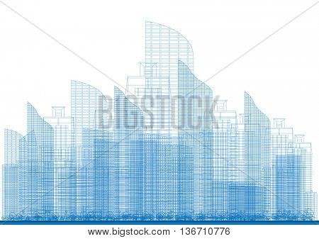 Outline City Skyscrapers in Blue Color. Business and Tourism Concept for Presentation, Placard, Banner or Web Site.