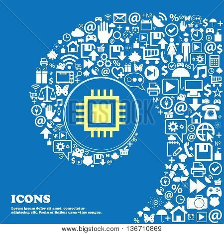 Central Processing Unit Icon. Technology Scheme Circle Symbol . Nice Set Of Beautiful Icons Twisted