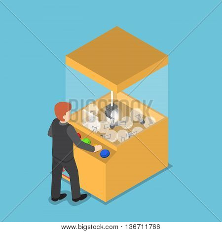 Isometric Businessman Getting Glowing Light Bulb From Claw Game Machine