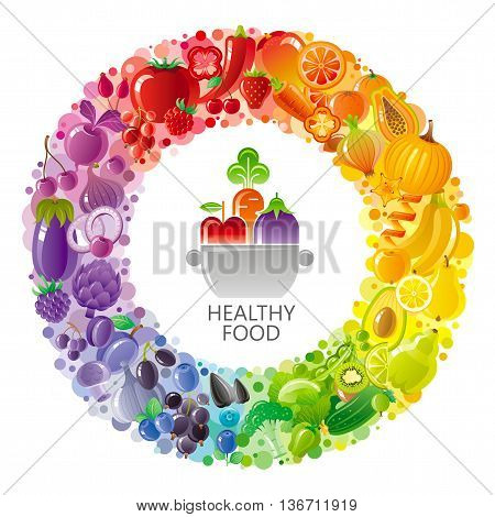 Vegetarian rainbow plate withe fruits, vegetables, nuts, berries. Fruit logo in the centre of circle