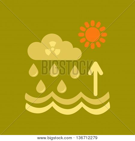 flat icon on stylish background nature Radioactive cloud and rain