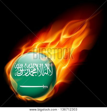 Flag of Saudi Arabia as round glossy icon burning in flame