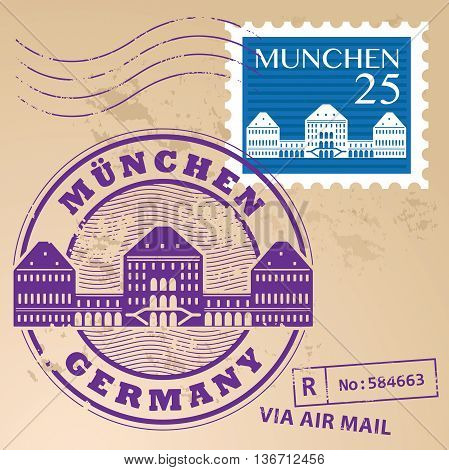 Stamp set with words Munchen, Germany inside, vector illustration