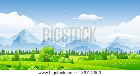 Panorama landscape with trees, flowers and mountains