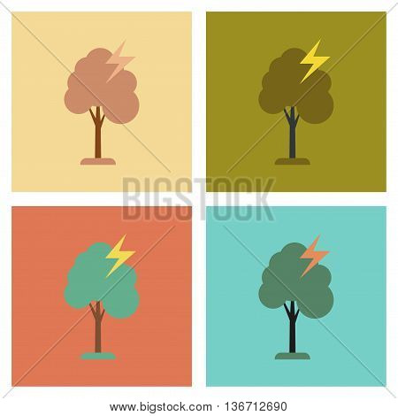 assembly of flat icons nature lightning tree