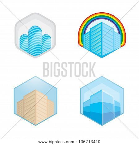 Colorful real estate, city and skyline icons, vector illustrations eps 10