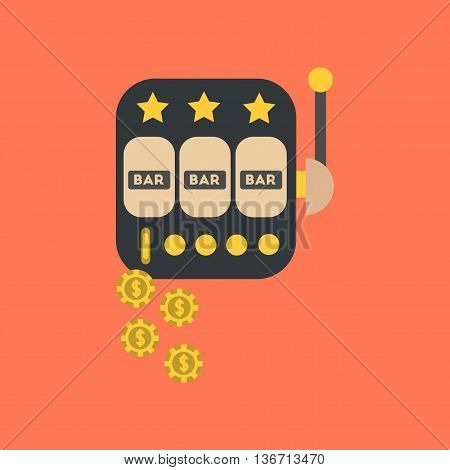 flat icon on stylish background poker slot machine winnings