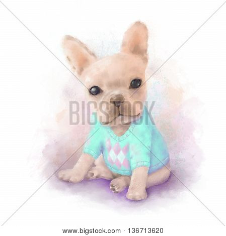 French Bull dog puppy on a aqua sweater sits on a white watercolor painting