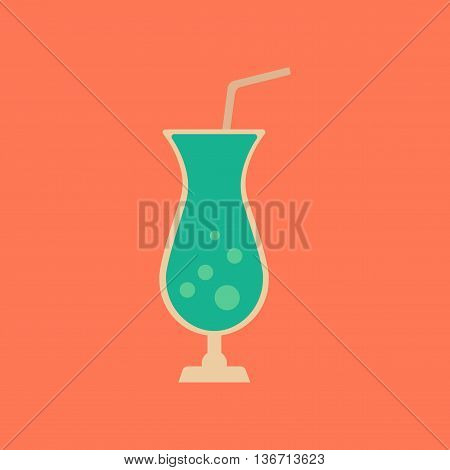 flat icon on stylish background glass of cocktail