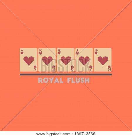 flat icon on stylish background poker royal flush
