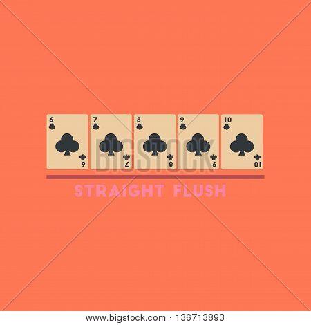 flat icon on stylish background poker straight flush