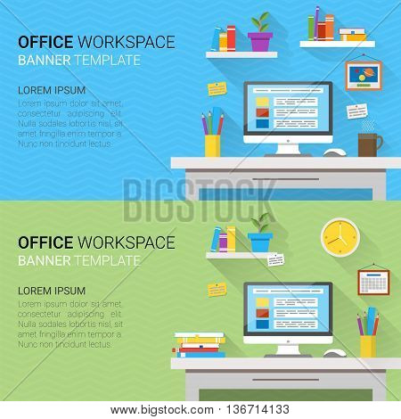 Flat design vector horizontal banners of modern office interior. Creative cartoon home workspace with computer notes folders books plants mug calendar clock. Minimalistic style and color