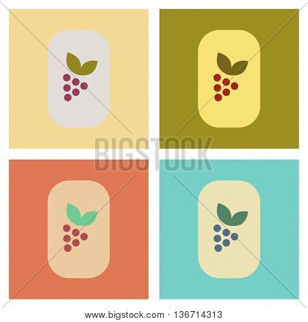 assembly of flat icons poker grapes with leaf