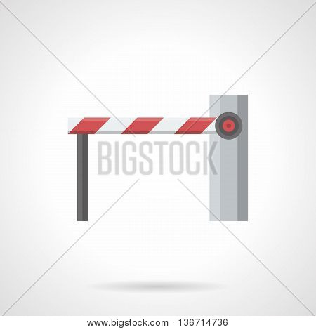 Traffic control elements. Automatic barrier with closed long boom on a rack. Restriction movement of vehicles and pedestrians. Flat color style vector icon.