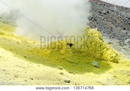 Sulfur Of Ebeko  Volcano, Paramushir Island, Kuril Islands, Russia