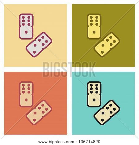 assembly of flat icons poker dice lucky