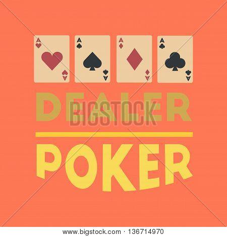 flat icon on stylish background poker casino dealer