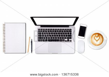Top view laptop computer or notebookmobile phone and cup of latte art coffee on wooden table. Business template mock up for adding your text.