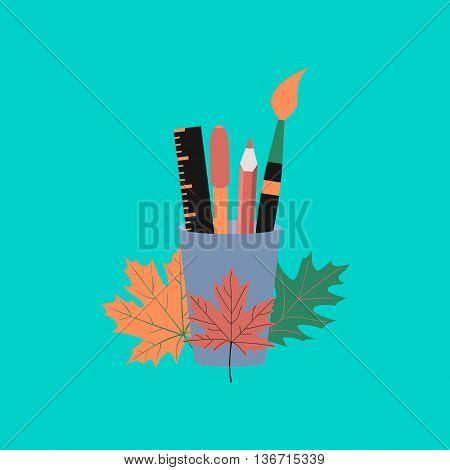 flat icon on stylish background school pencils pens ruler