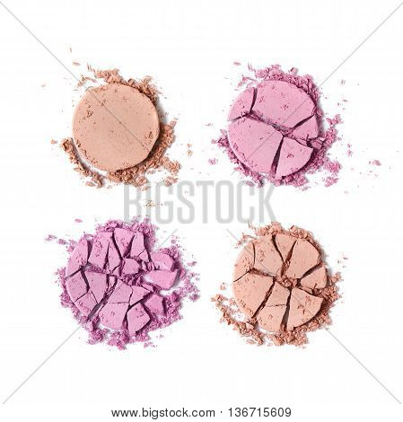 Broken blush face make up isolated on a white background