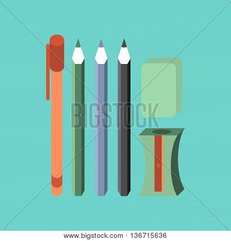 flat icon on stylish background education pencil eraser pen