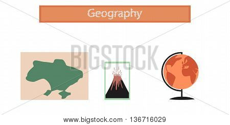 assembly flat icons school subjects of study geography