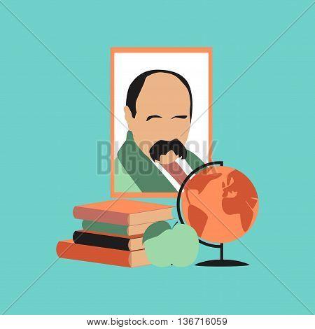 flat icon on stylish background school Ukrainian literature lesson