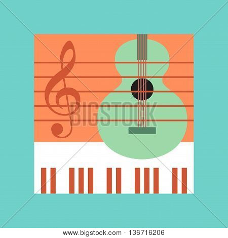 flat icon on stylish background school music lesson