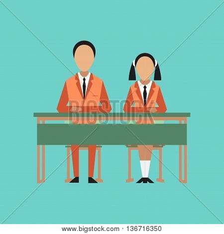 flat icon on stylish background school pupils at school desk