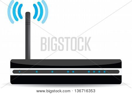 Wireless Wi-Fi router on white background. Vector illustration