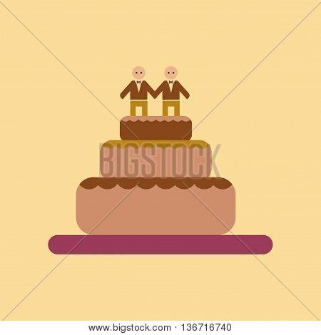 flat icon on stylish background gays wedding cake