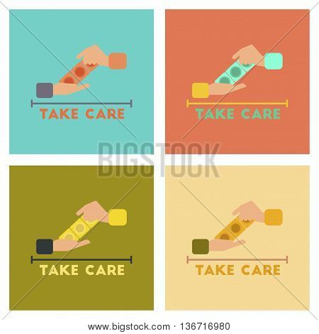 assembly of flat icons gays hand condoms