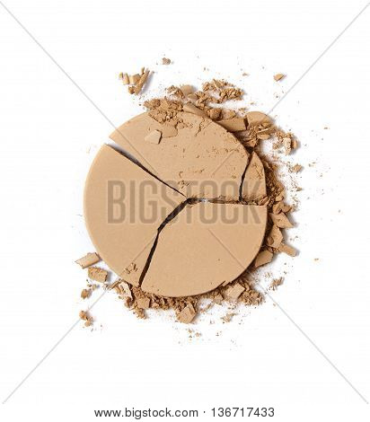 Smashed foundation powder make up isolated on a white background