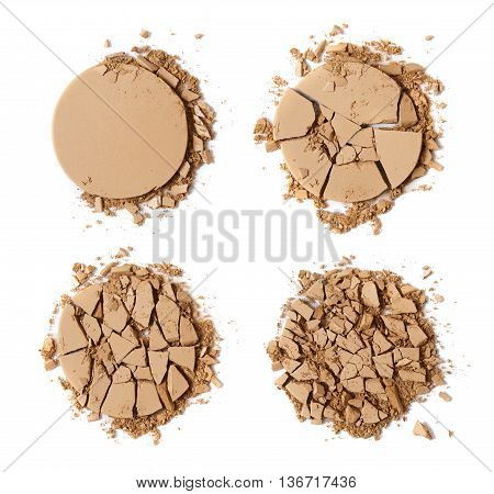 Broken face powder make up isolated on a white background