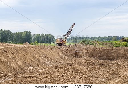 Berdsk Novosibirsk oblast Siberia Russia - June 26 2016: the industrial extraction of clay for production of building bricks