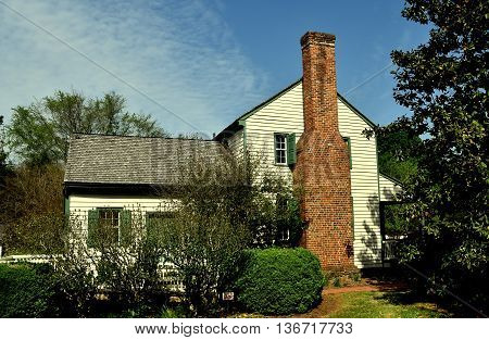 Hillsborough North Carolina - April 20 2016: 1790 Home of Quaker Alexander Dixon now the town visitor center