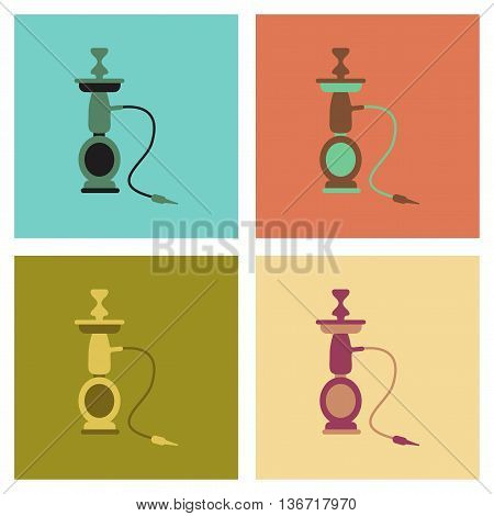 assembly of flat icons Eastern smoke hookah