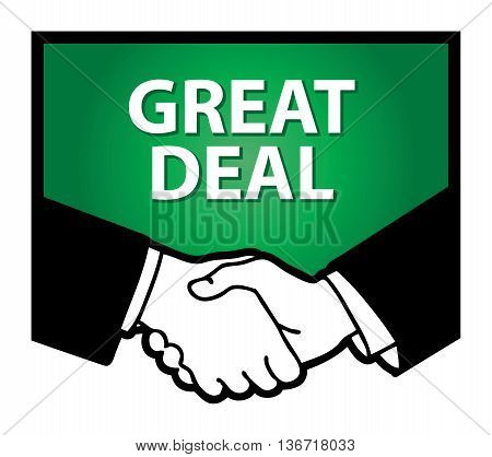 Business handshake and text Great Deal, vector illustration