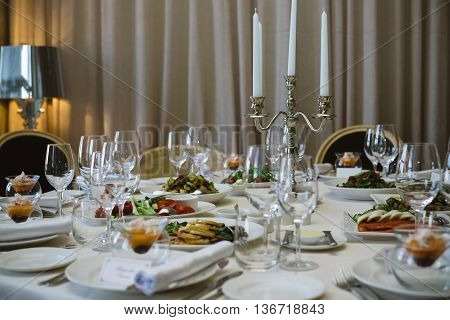 Elegant Catering Table Set Service With Silverware, Napkin And Glass At Restaurant Before Party