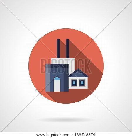 Manufacturing plant of construction materials. Architecture industry symbol. Factories and industrial facilities. Round flat color style vector icon.