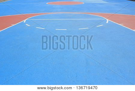 The basketball court with white lines for background