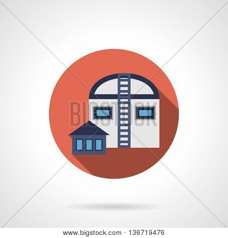 Abstract buildings of agricultural hangars. Rural industry, crop storages, garages for farming vehicles. Factories and industrial facilities. Round flat color style vector icon.