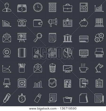 49 Business and office line icons, vector eps10 illustration