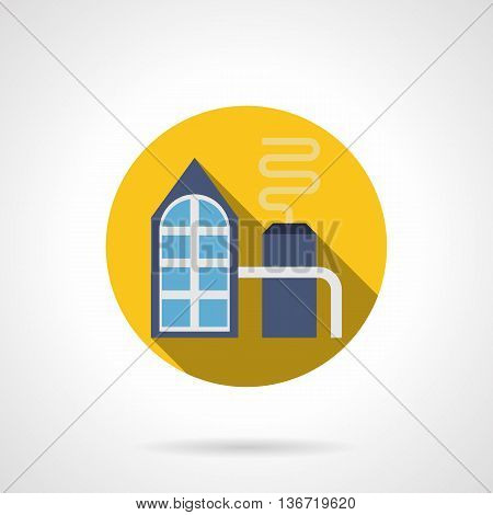 Abstract fertilizer factory with processing pipelines. Agricultural and chemical industry. Round yellow flat style vector icon.