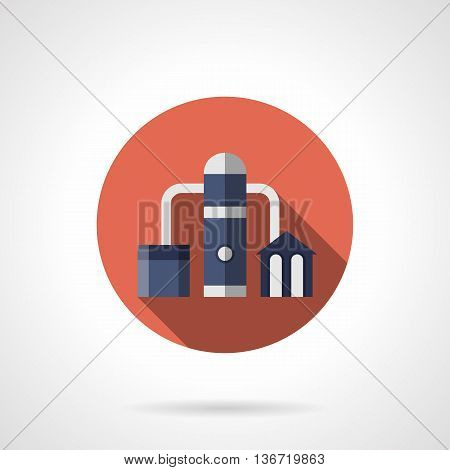 Petrochemical plant symbol. Refinery, oil distillation factory and industrial facilities. Power and energy industry. Round flat color style vector icon.