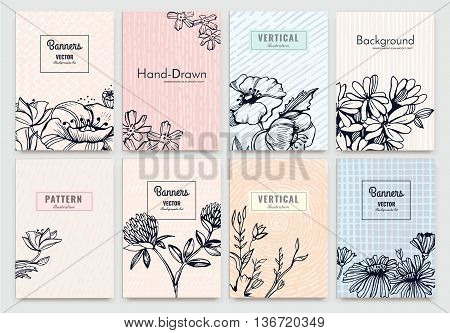 Set of Isolated creative background cards. Hand drawn vintage elements. Vector template banners for card, poster, invitation, flyer, party, wedding, brochure. Flower design collection