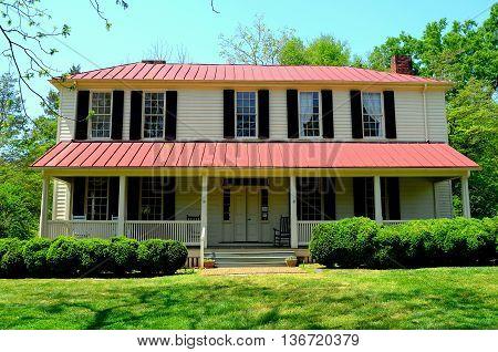 Hillsborough North Carolina - April 20 2016: Main home at the 1821 Burwell School for Women historic site *