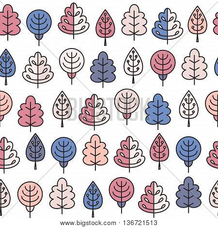 Seamless Pattern With Outline Stroke Icons With Spring Tress.